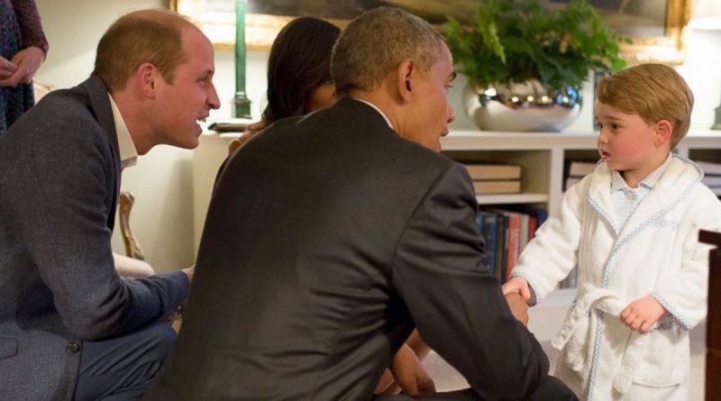 Le fils de Kate et William craquant avec le couple Obama